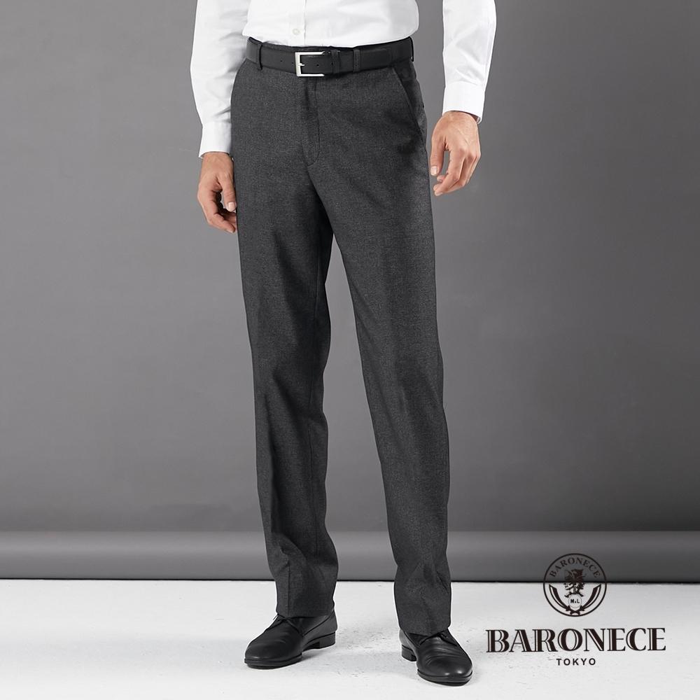 BARONECE 百諾禮士休閒商務  男裝 平口彈力修身版西褲--黑灰色(1206844-98)