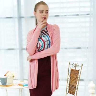 闕蘭絹蠶絲針織罩衫綁帶外套 ( 粉) - 6619