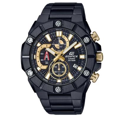 EDIFICE 粗曠六螺絲設計大錶面黑不鏽鋼腕錶-(EFR-569DC-1A)/51mm