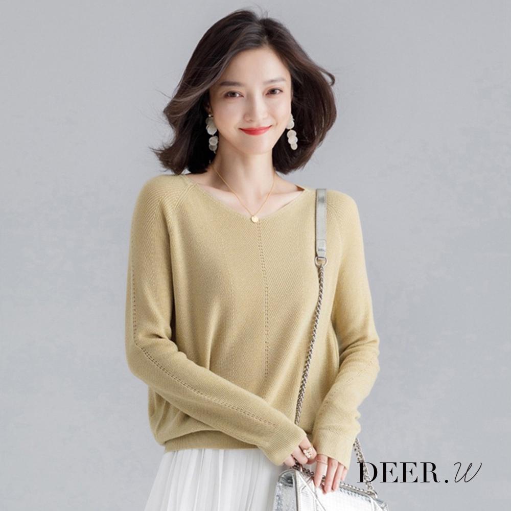 DEER.W V領落肩金絲針織上衣(黃)