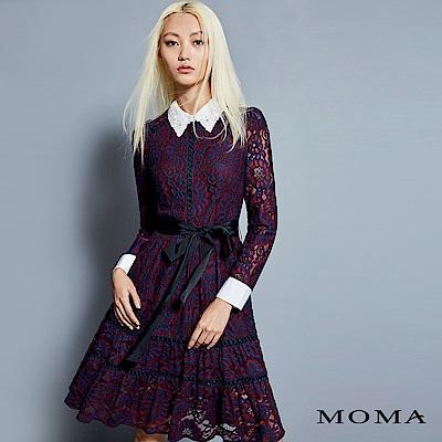 MOMA 襯衫領蕾絲綁帶洋裝