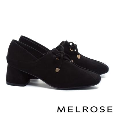 高跟鞋 MELROSE 知性復古綁帶蝴蝶結羊皮方頭粗高跟鞋-黑