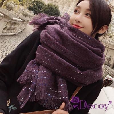 Decoy 點點純色 流蘇加大保暖披肩圍巾 紫