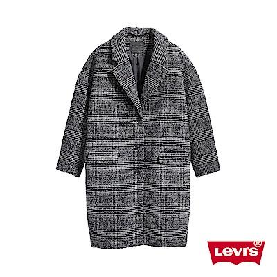 Levis 女款 長版羊毛大衣 摩登格紋 修身繭型