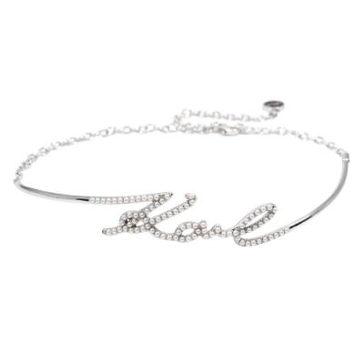 Karl Lagerfeld KARL英文造型珍珠銀色頸鍊項鍊