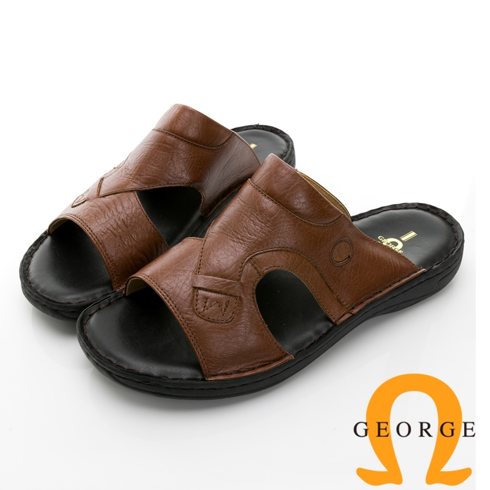 【GEORGE 喬治皮鞋】特大尺寸 手工縫製牛皮壓紋氣墊拖鞋 -棕色 017006AE