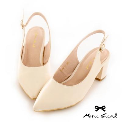Mori girl復古微尖頭鞋後空中跟鞋 白
