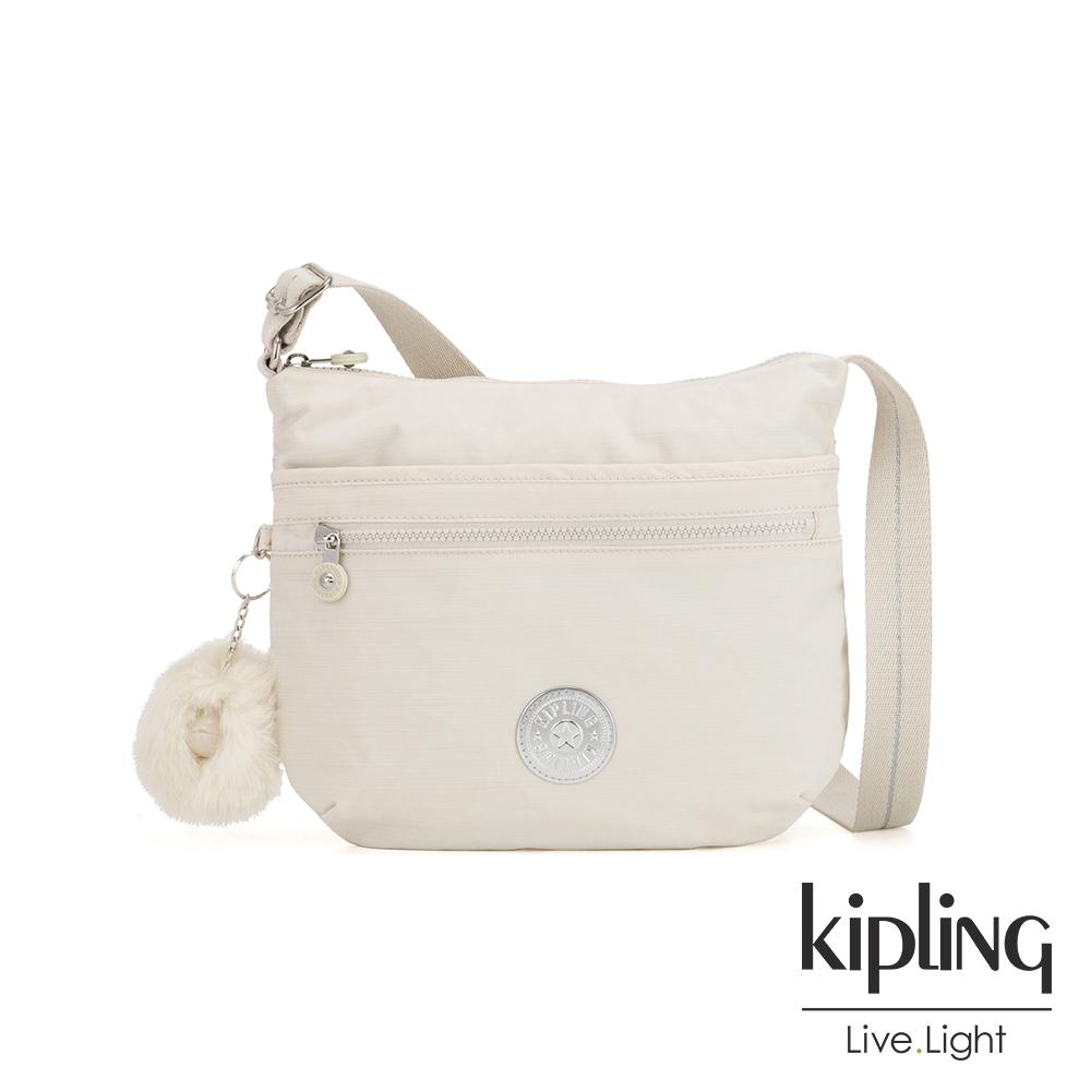 Kipling 優雅米白前拉鍊側背包-ARTO