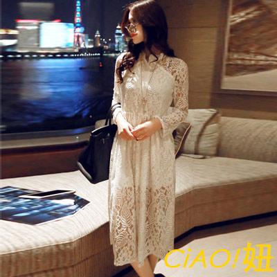 蕾絲透膚立領縮腰連身洋裝 (白色)-CiAO妞