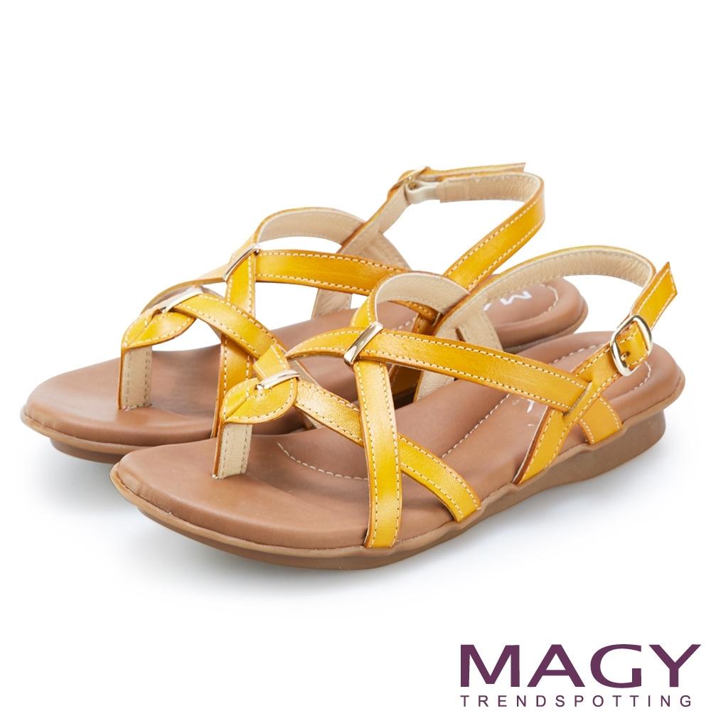 MAGY 質感牛皮交叉編織夾腳涼鞋 黃色