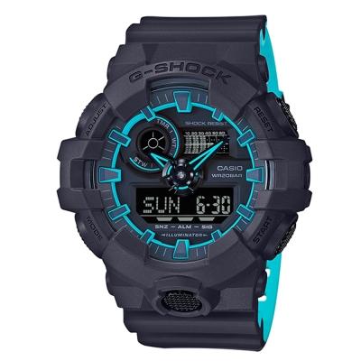G-SHOCK街頭創新螢光元素設計休閒錶(GA-700SE-1A2)藍線圈53.4mm