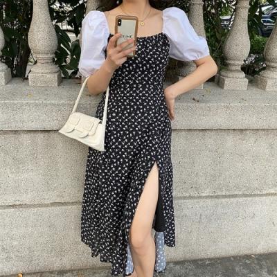 宮廷泡泡袖側開叉裙襬印花洋裝XL-5XL-KVOLL
