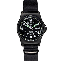 MWC瑞士軍錶 G10LM 12/24雙時區 PVD不鏽鋼設計錶 -黑色/35mm