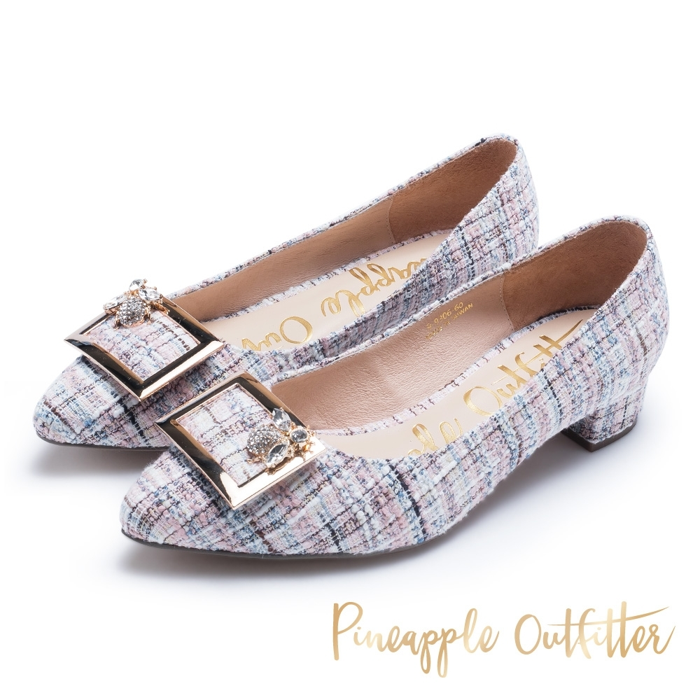 Pineapple Outfitter 復古女伶 格紋金屬方扣尖頭粗跟鞋-粉色