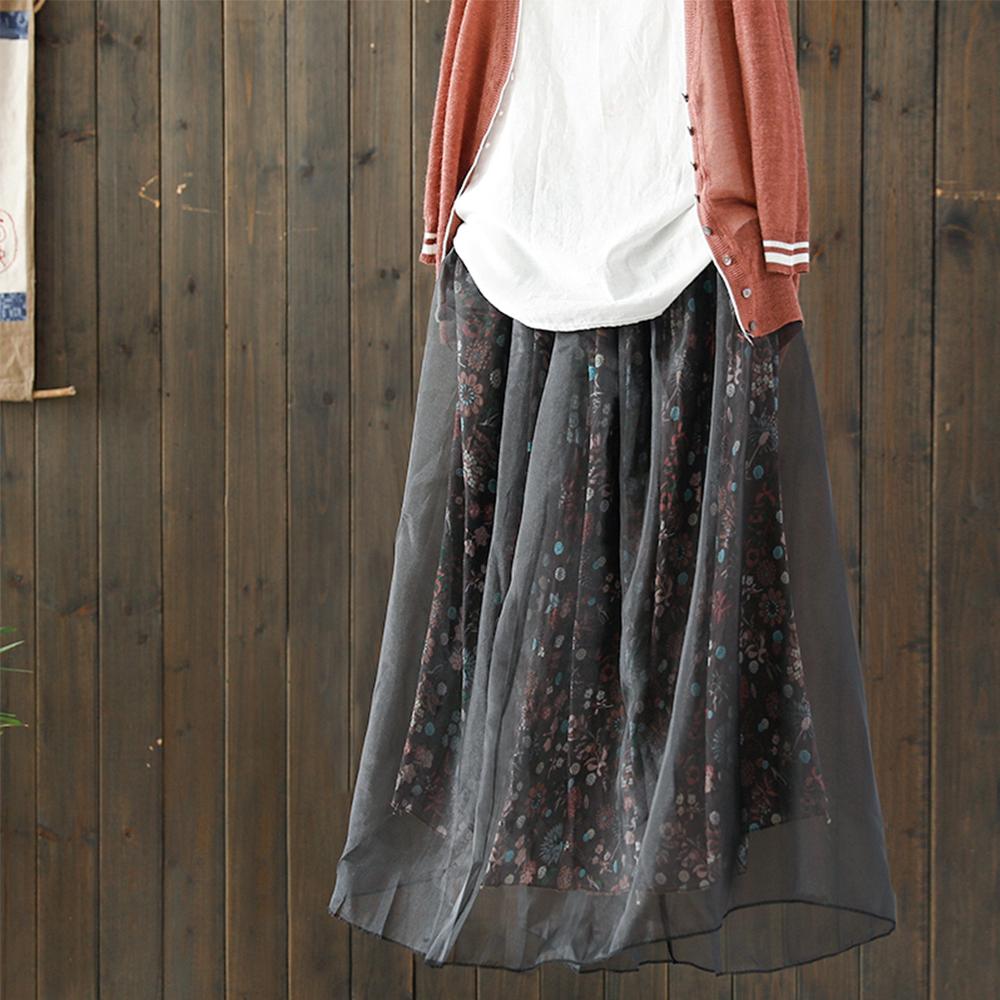 寬鬆歐根紗碎花中長高腰裙-Q2103-設計所在