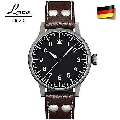 Laco朗坤 Westerland 夜光飛行機械腕錶-黑/45mm