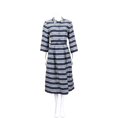 Max Mara 灰藍色條紋七分袖洋裝(附腰帶)