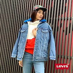 Levis 女款 牛仔外套 寬鬆版型 藍色可拆式毛領