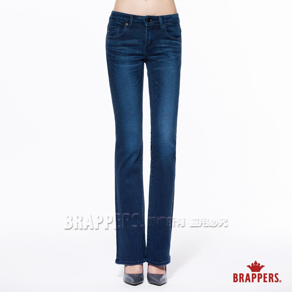 BRAPPERS 女款 新美腳Royal系列-女用中低腰彈性小喇叭褲-藍