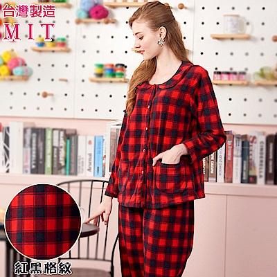 睡衣 蕾妮塔塔 簡約紅黑大格紋 刷毛長袖兩件式睡衣居家服(77217-8)台灣製造