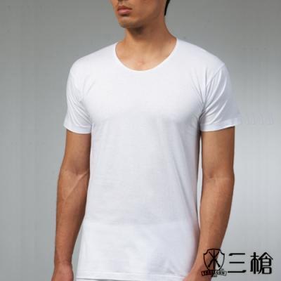 三槍牌 時尚型男純棉短袖簡約圓領汗布衫HE616 白色3 件組