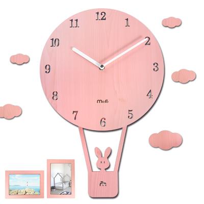 10吋 小兔熱氣球 居家擺飾 兒童房 兒童臥室 餐廳客廳 靜音搖擺掛鐘 - 粉色