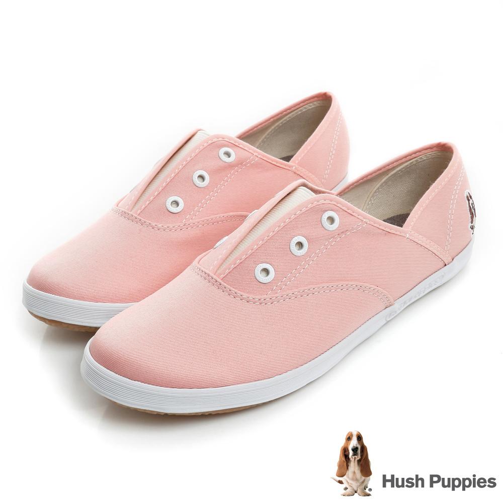 Hush Puppies 馬卡龍系咖啡紗懶人鞋-粉橘