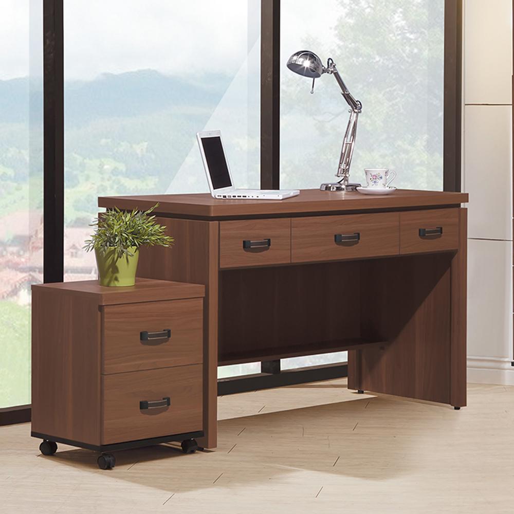時尚屋 詠昶淺胡桃4尺書桌(含活動櫃)