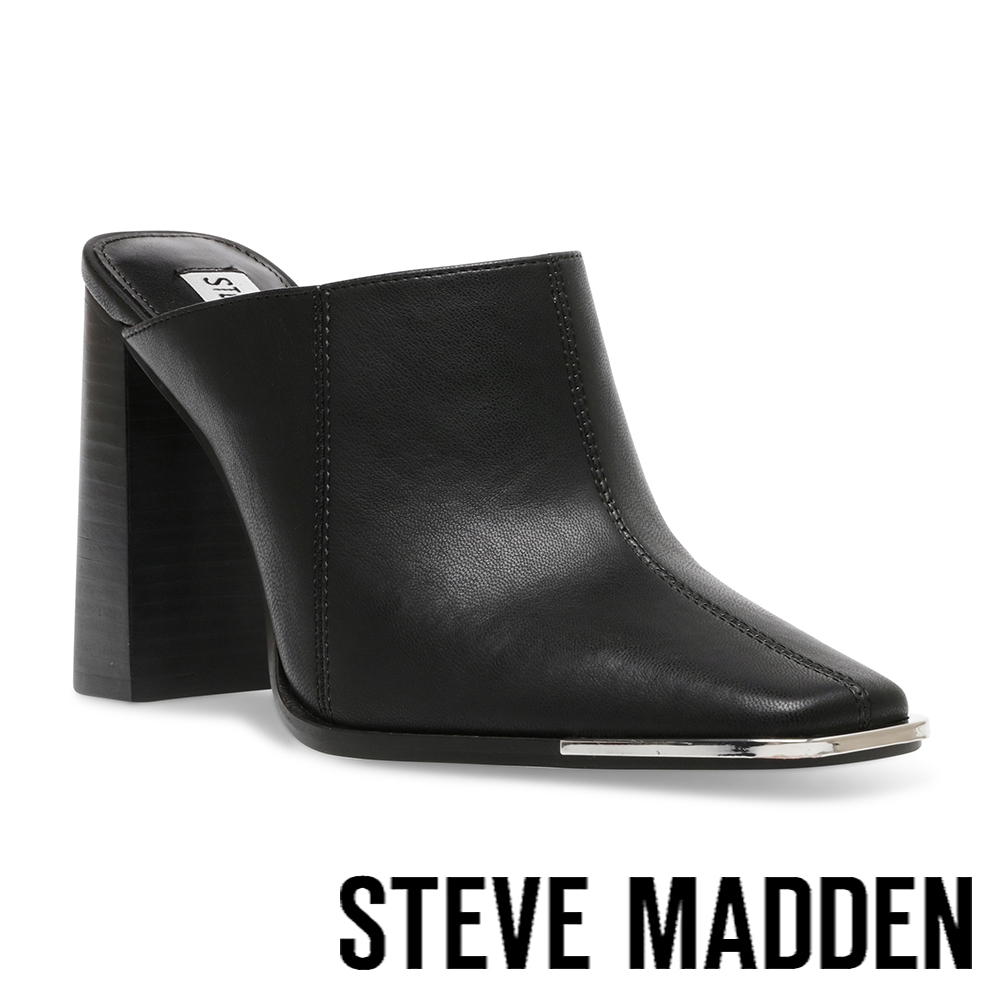 STEVE MADDEN-SADLER 軟皮高跟拖鞋-黑色