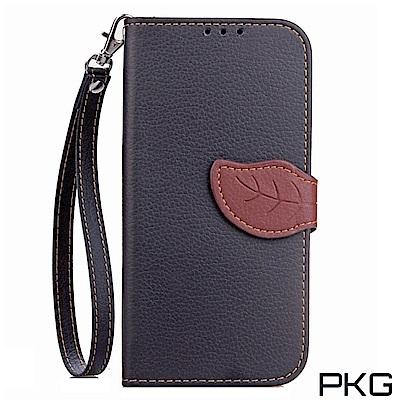 PKG 小米A2  側翻式皮套-精選皮套系列-葉子磁扣款-黑