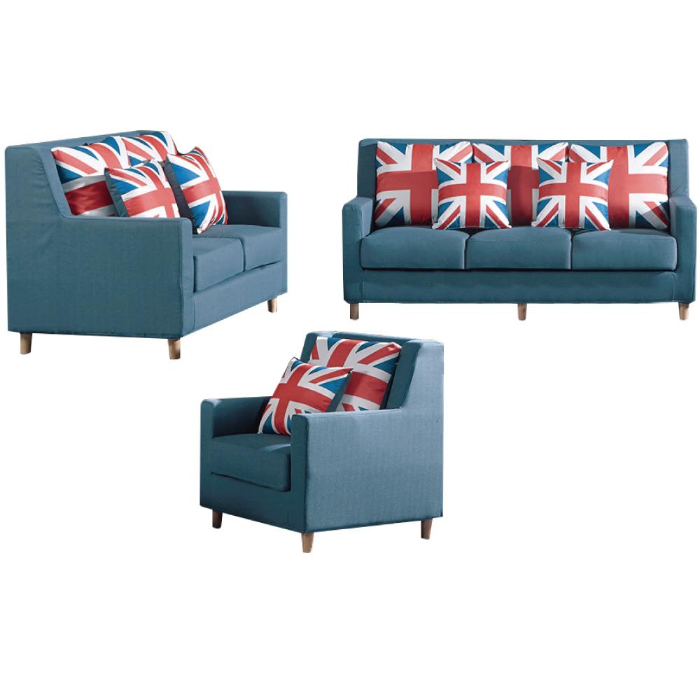 品家居 米瑟現代藍亞麻布獨立筒沙發椅組合(1+2+3人座)