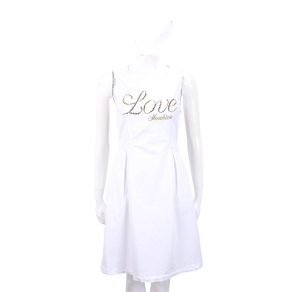 LOVE MOSCHINO 貼飾刺繡草寫字母白色背心洋裝