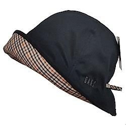 DAKS 日本製抗UV科技纖維格紋蝴蝶結遮陽帽(黑)