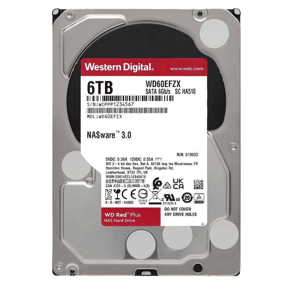 WD 紅標 Plus 6TB NAS專用3.5吋SATA硬碟(WD60EFZX)