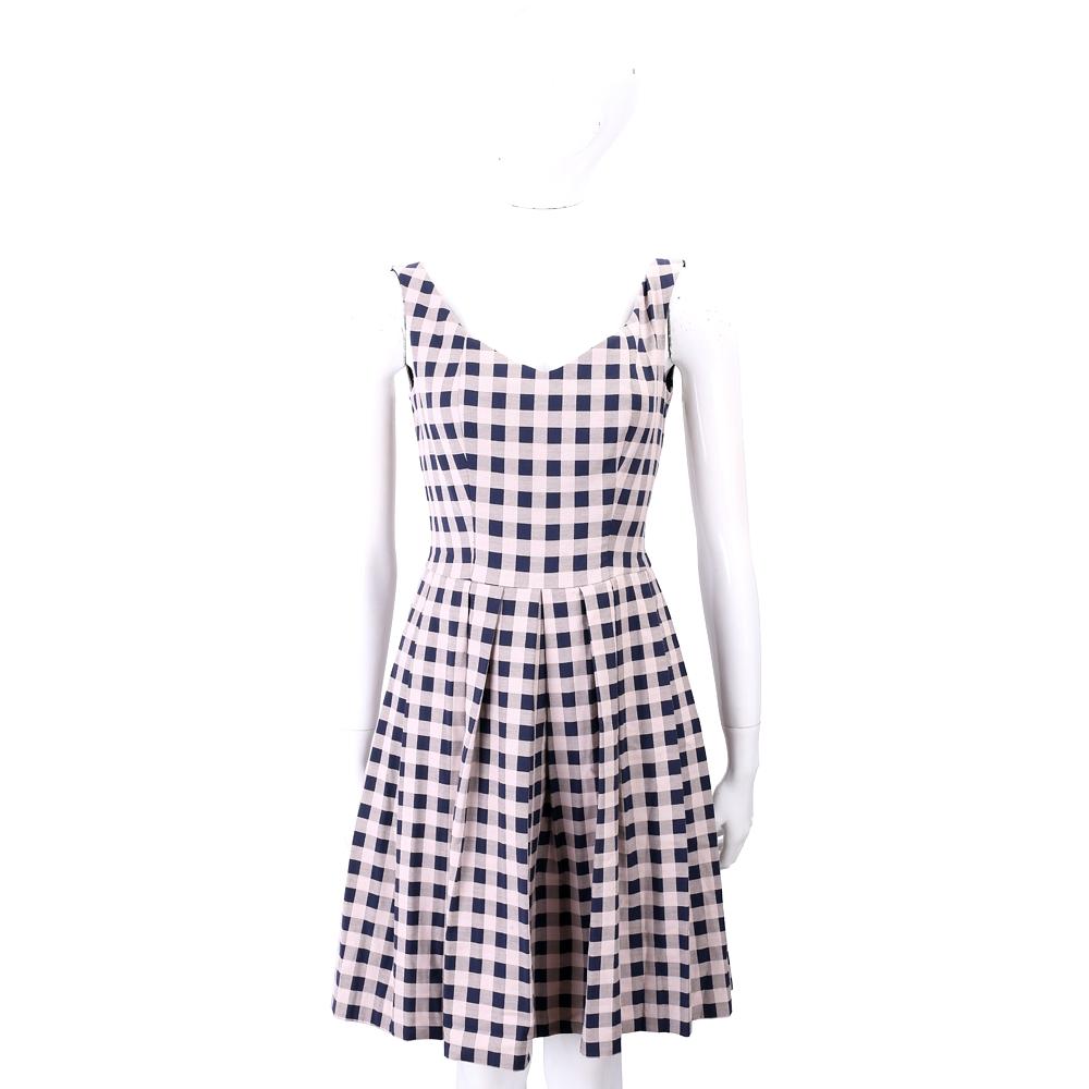 PINKO 粉藍撞色格紋洋裝