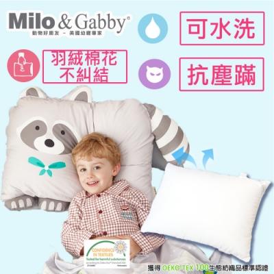 【Milo&Gabby】動物好朋友-可水洗防蹣兒童枕心+枕套組-2歲以上(AMI浣熊)