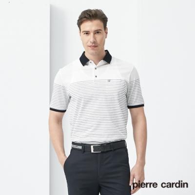 Pierre Cardin皮爾卡登 男裝  pima長絨棉單面定位條紋polo衫-白色(5187207-90)