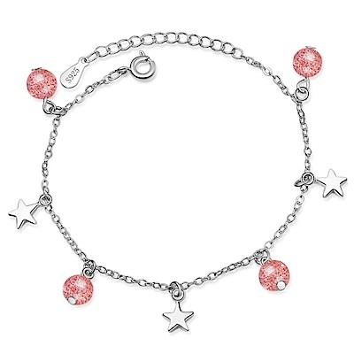 Angel 氣質簡約星星草莓晶月光石桃花手鍊2色可選
