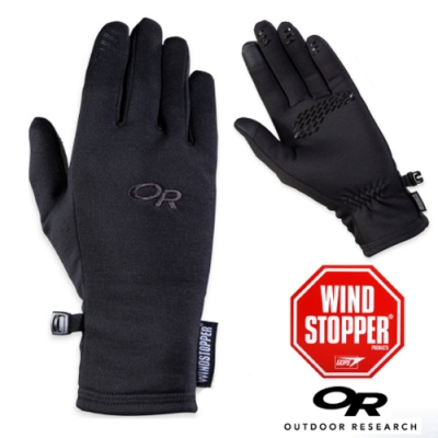 Outdoor Research 女 Backstop Sensor WINDSTOPPER 防風透氣彈性保暖手套_觸控手套_黑
