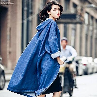 Jilli-ko Oversized長版牛仔連帽外套-藍/黑
