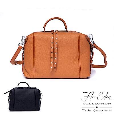 Flor Eden - 韓版潮流時尚款真皮鉚釘手提側背包-共2色