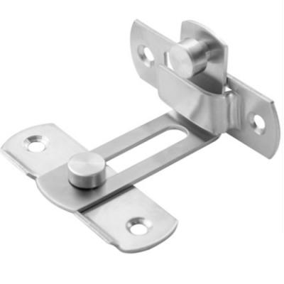 HE024-M 中號不鏽鋼門鎖 90度 白鐵打掛鎖 90゚門栓直角鎖 門閂 掛扣 門扣門止