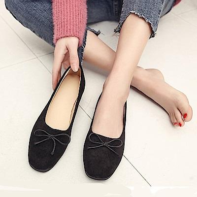韓國KW美鞋館 美搭款特殊材質花邊平底鞋-黑色