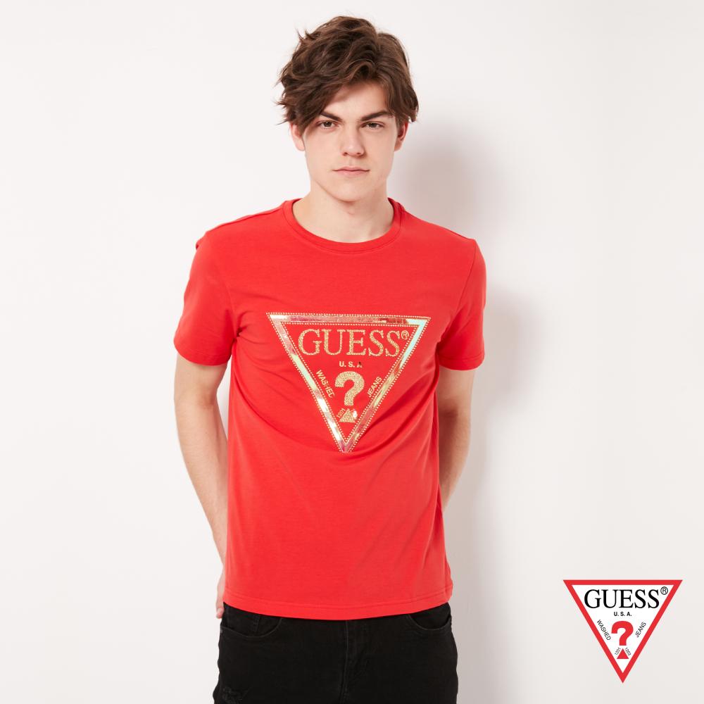 GUESS-男裝-鑲鑽雷射跳色logo短T,T恤-紅 原價1790