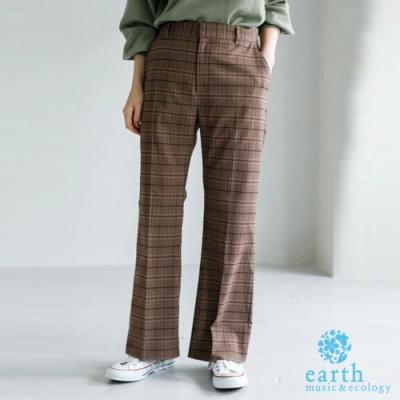 earth music 定番素面/格紋打摺剪裁直筒長褲