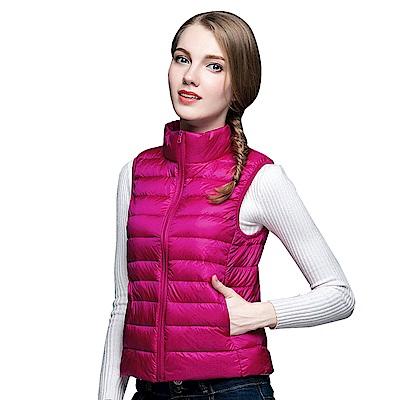 【KISSDIAMOND】超輕防風保暖天然90+羽絨背心女款玫紅