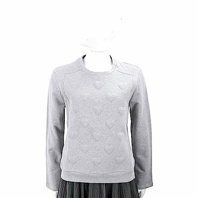 RED VALENTINO 愛心浮雕灰色太空棉運動衫