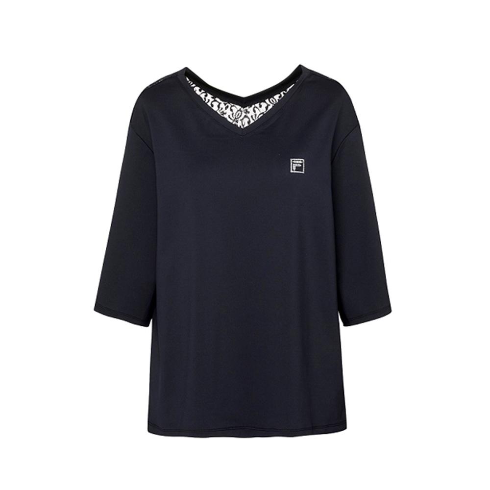 FILA 女吸濕排汗七分袖T恤-黑色 5TEV-1603-BK