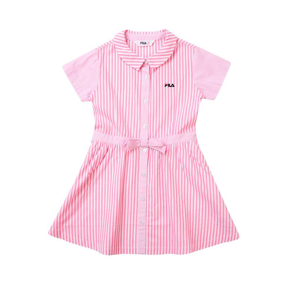FILA KIDS 女童短袖平織洋裝-粉色 5DRT-4447-PK