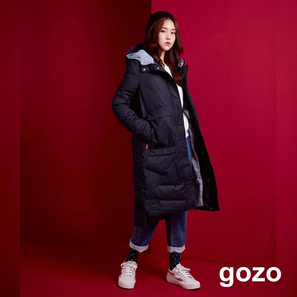 gozo 幾何壓紋大口袋長版羽絨大衣(二色)